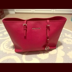 Michael Kors large red tote bag